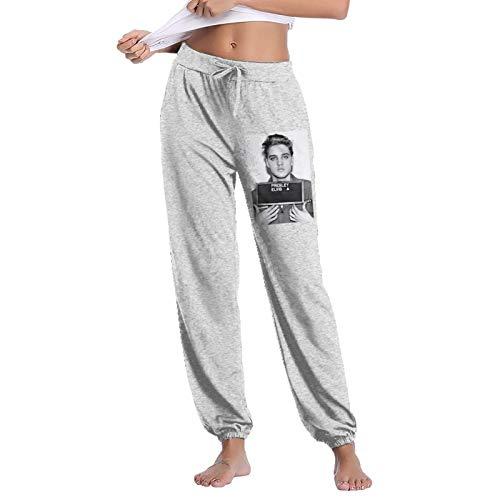 Pekivide 100% Cotton Casual Sports Women's Elvis Presley Trousers Large Gray