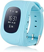Kids GPS Tracker Smart Watch Phone Children Wrist Bracelet with SIM Card SOS Anti-lost Finder Parent Control on Universal Smartphone 7Days Plan Included (Blue)
