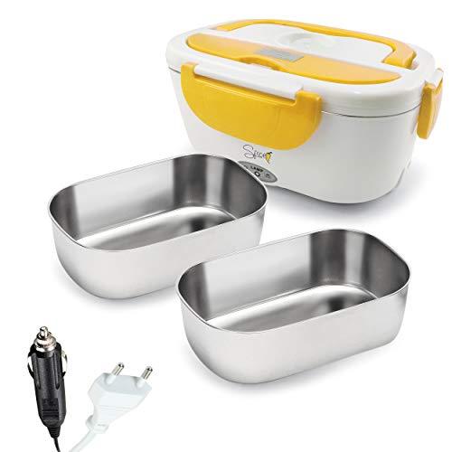 SPICE Amarillo Inox Plus Scaldavivande Portatile Lunch Box 40 W Coperchio con Guarnizione, Doppio Voltaggio Double Voltage 220V - 12V + 2 Vaschette Acciaio Inox Estraibili
