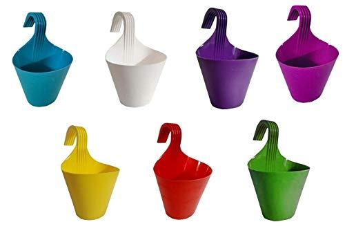 Go Hooked Hanging Planters for Plants Railing Flower Pots (Multicolour, Set of 7)
