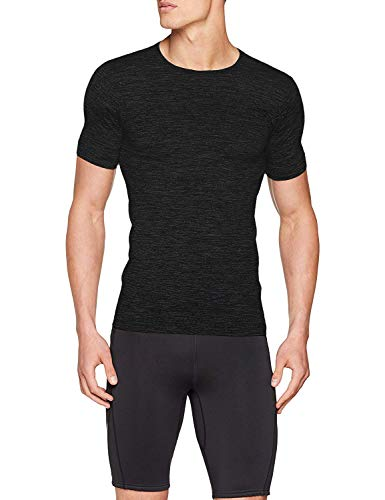 Sundried Mens Muscle Fit Compression T-Shirt Seamless Sport Gym Kleidung (schwarz, L)