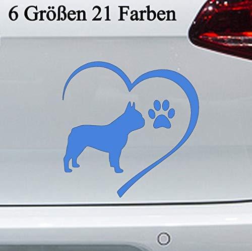 Pegatinas de perro bulldog francés, 6 tamaños, perro, corazón, pata, raza en...