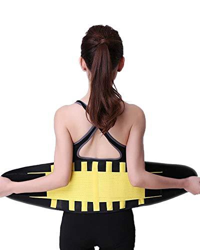 DaiHan Mujer Cintura Entrenador, Ajustable Respirable Cinturón Reductor Abdominal Faja Moldeadora Grasa para Peso Pérdida Deporte Entrenamiento Jaune S