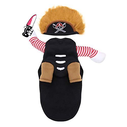 Balacoo Perro Pirata Disfraz de Halloween Ropa de Invierno para Mascotas Ropa de Estilo Caribeño para Perros Sudadera con Capucha para Halloween Disfraz de Perro Mediano Grande (Negro S)