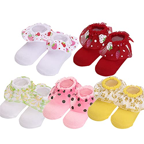 5 par/Lote Calcetines de bebé recién Nacido Calcetines de algodón para bebés niñas Calcetines Cortos encantadores Accesorios de Ropa para 0-6,6-12,12-24 meses-a45-12-24Month