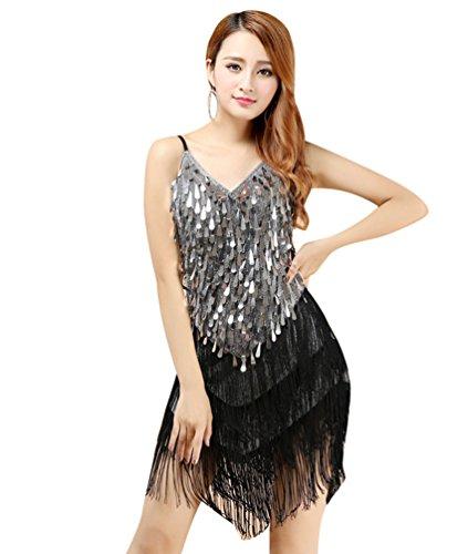 YiJee Damen Latein Salsa Quaste Pailletten Kleid Ballroom Wettbewerb Dancewear Schwarzes Silber