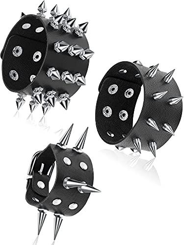 3 Pieces Leather Studded Punk Bracelet Studded Armband for Men Punk Rivet Bracelet Spike Rivet Cuff Bangle Unisex Metal Studded Wristband for Halloween Party Favors (Chic Style)