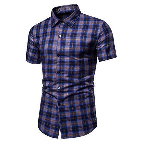 SSMENG Herren Hemd Kurzarm Karo-Hemd Causal Slim Fit Kariert Sommer Freizeithemd Stretch Baumwolle Männer Checked Shirt(Blau,3XL)