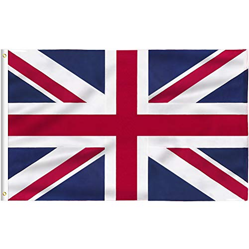 FLAGBURG Britische Flagge 150 x 240 cm Großbritanien Fahne mit Messingösen, Lebendige Farbe und UV-beständig, Leinwand-Header und Doppelt Genäht Langlebig UK Flag,für Draußen und Drinnen