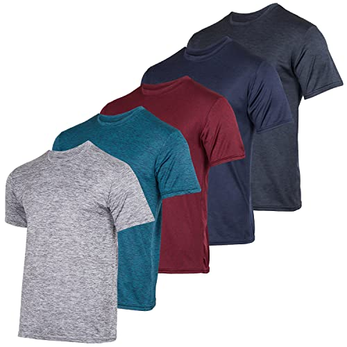Men's Quick Dry Fit Dri-Fit Short Sleeve Active Wear Training Athletic Essentials Crew T-Shirt Fitness Gym Wicking Tee Workout Casual Sports Running Tennis Exercise Undershirt Top - 5 Pack,Set 1-M