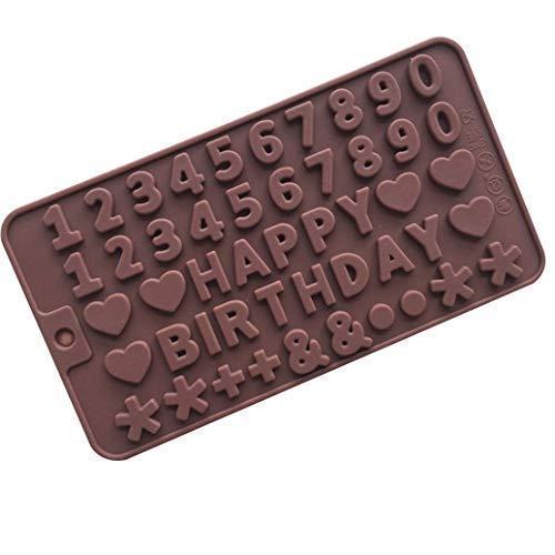 htrdjhrjy Happy Birthday Silikon Kuchen Dekoration Zuckerguss Kekse Schokolade Fondant DIY Backform Schwarz für Home Dekoration - Chocolate.
