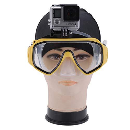 QHJ Action Kameras Tauchen Schwimmbrille Tauchmaskenhalter mit Abnehmbarer Schraubbefestigung für DJI Osmo Action, Tauchschwimmbrille Tauchmaskenhalter für DJI Osmo Action (Gelb)
