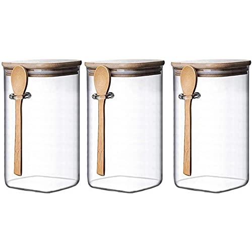 Heritan Tarro de almacenamiento de vidrio cuadrado transparente con tapas de bambú con cucharas de bambú, tarros herméticos para alimentos, recipientes de cocina de vidrio