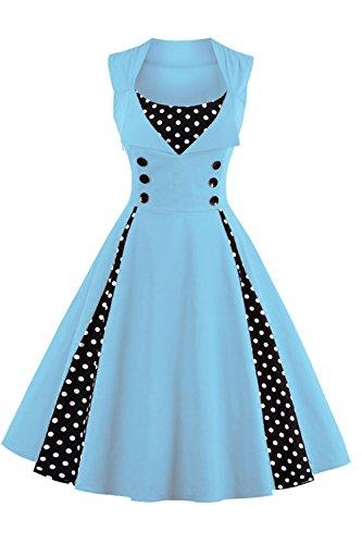 Babyonline Damen Vintage Rockabilly Lotus Hulse Hepburn Stil Kleid Kirsche Partykleid Cocktailkleid XL,Blau