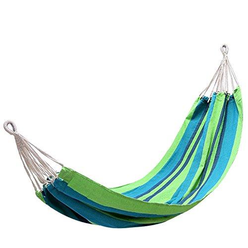 KingCamp – Hamac de Jardin Canevas – 200 * 100cm - Charge Max. 120 kg – Coloris Vert/Bleu