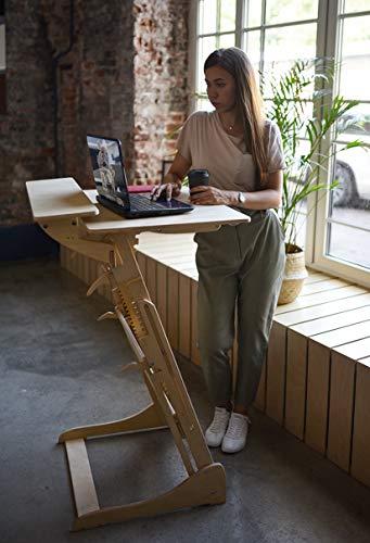 Stehpult Stehtisch für Kinder Erwachsene Typ H - Holz - Tisch höhenverstellbar - Kontorka - Gestell unlackiert (Tischplatte Nuss, hell) Adjust Standing Desk