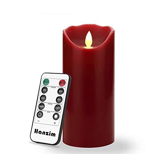 HANZIM LED Kerzen, Flammenlose kerzen 180 Stunden Dekorations-Kerzen-Säulen (15,2 cm,je Ø 8cm). 10-Tasten Fernbedienung mit 24 Stunden Timer-Funktion (Burgundy)