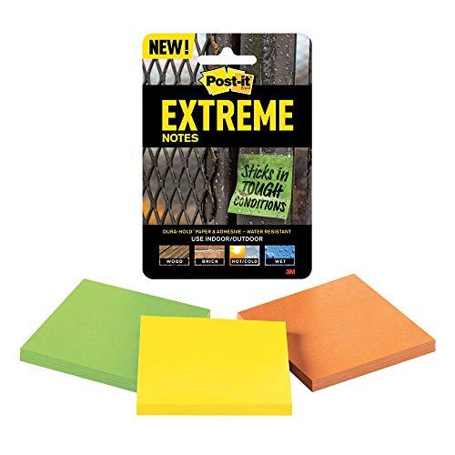 Post-it Extreme Notes - Cuaderno de notas (3 unidades, 76 x 76 mm), color verde y amarillo
