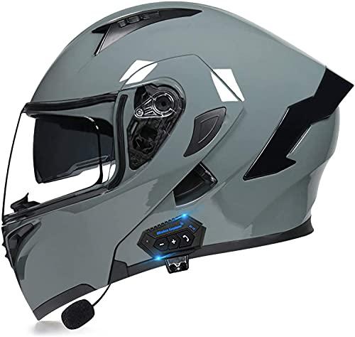 Egrus Casco Plegable de la Motocicleta integrada de la Motocicleta Casco Plegable de la Motocicleta con Anti-Niebla de Doble Cambio ECE Certificado L (Color : RT, Size : M)