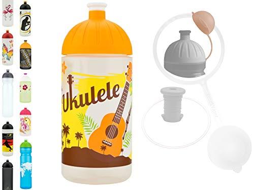 FreeWater Trinkflasche, 500ml, Ukulele: schadstofffrei, kohlensäuredicht, spülmaschinengeeignet, langlebig
