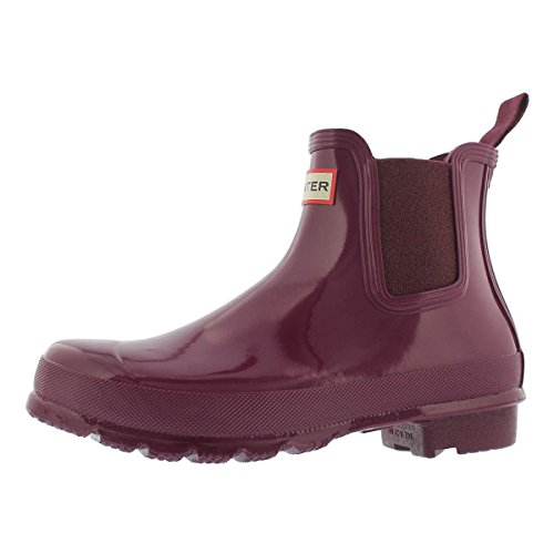 Womens Hunter Original Chelsea Gloss Rubber Waterproof Snow Ankle Boots - Violet - 7