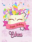 Happy Birthday Edrea: Personalized Dabbing Unicorn Sketchbook & Notebook with pink name   Best Birthday Gift for Edrea  8.5x11 Size & 100 Sketchbook pages + 50 Wide Ruled Composition Notebook pages