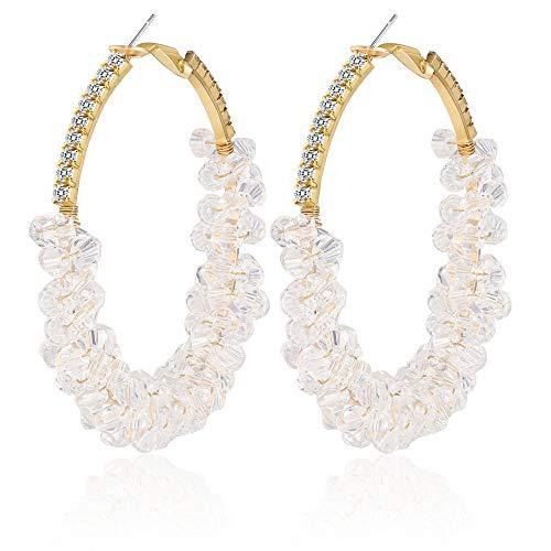 Sllaiss Pendientes de aro de cristal bohemio, para mujer, con cuentas, chapados en oro de 14 quilates, 55 mm