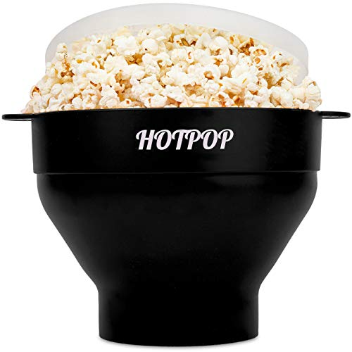 The Original Hotpop Microwave Popcorn Popper, Silicone Popcorn Maker, Collapsible Bowl Bpa Free and Dishwasher Safe - 12 Colors Available (Black)