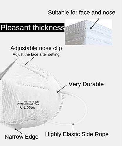 Uniguardian 15x-Mascarillas FFP3 Máscara-empaquetado individualmente Máscaras de protección respiratoria,certificado EN 149:2001+A1:2009,filtro de clase de filtro más alto 99%-sin válvula