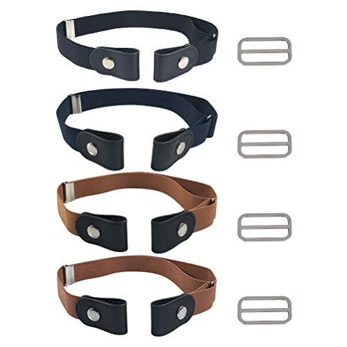 FOCCTS Juegos de 4pcs Cinturones Elástico Invisibles sin Hebilla para Hombre,Mujer y...