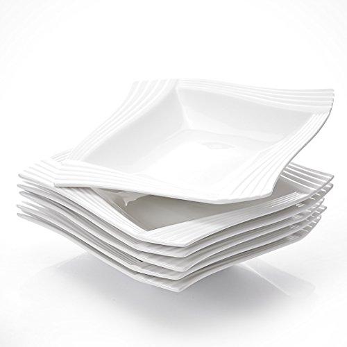 MALACASA, Serie Amparo, 6 teilig Set Cremeweiß Porzellan Suppenteller 8 Zoll / 20x20x4 cm für 6 Personen