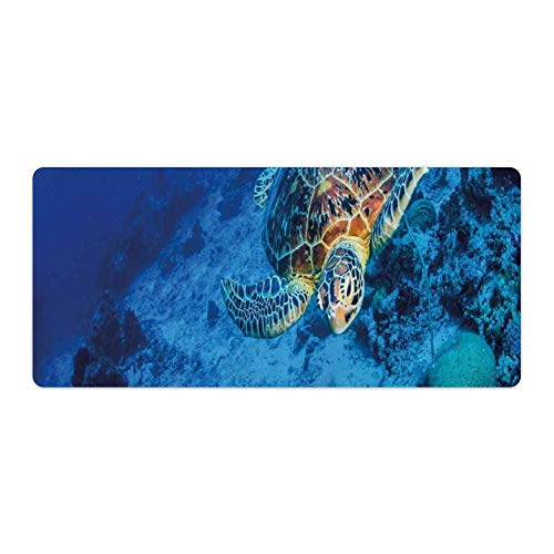Extended Gaming Mouse Pad with Stitched Edges Large Keyboard Mat Non-Slip Rubber Base Oceanic Wildlifed of Sea Turtle in Deep Blue Waters Coral Reef Hawaiian Desk Pad for Gamer Office 16x35 Inch
