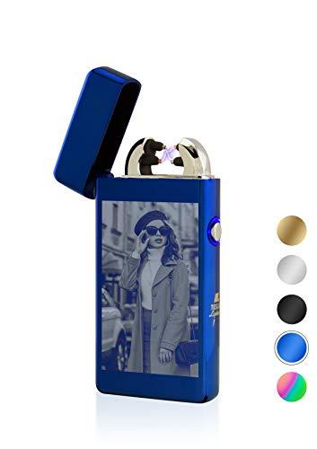 TESLA Lighter T08 Lichtbogen Feuerzeug Blau mit Fotogravur Foto selber gestalten Bildgravur personalisierbar USB Aufladbar Elektro Sturmfest Plasma Doppel-Lichtbogen