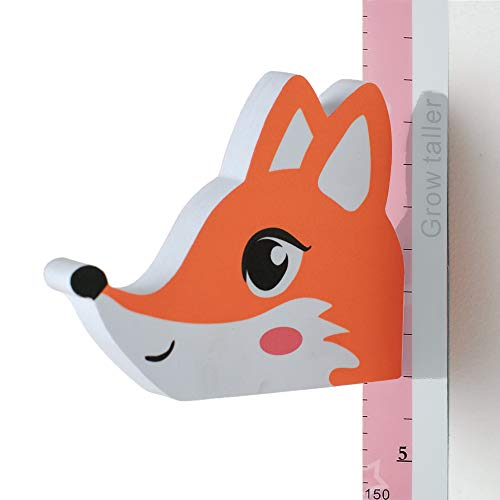 Wopeite 3D Messlatte Wachstumstabelle abnehmbarer Höhenmesser tragbare beschreibbare kleine Fuchs-Wandsticker EVA Abziehbilder Überschrift Kinderzimmer