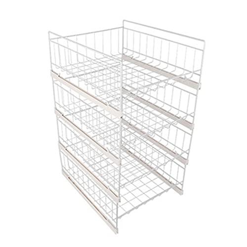 yaunli Wardrobe storage box Shelf Storage Basket Shelf Hanging Metal Wire Storage Basket Organizer For Kitchen Office Pantry Bathroom Cabinet White Stackable wardrobe storage box