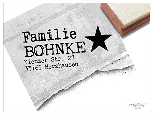 Stempel -Individueller Adressstempel personalisiert STERN 4zeilig - Familienstempel Name Adresse Anschrift, Schule Beruf Familie - zAcheR-fineT