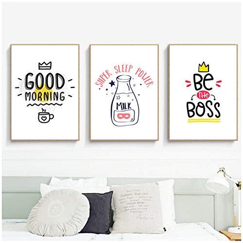zzxywh Leinwand Kunst Malerei Abstrakte Druckplakat Bild Wand Guten Morgen Milch Englisch Ist Der Chef Satz Dekoration 40x60 cm x 3 Kein Rahmen