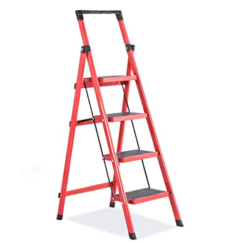 Balkon Veiligheid Trappen, Multicolor in vier stappen ladder decoratie Engineering Ladder Tool Rack Design/Blauw Rood Wit (Kleur: Blauw, Maat: 42 * 74 * 135cm) XIUYU