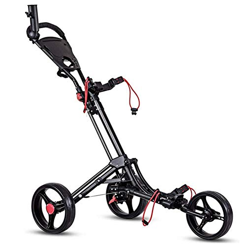 Best Price LUSHUN Golf Push Cart 3 Wheel, Golf Trolley with Adjustable Handle Angle, Scorecard, Foot Brake, Lightweight Golf Carts, One Second to Open & Close