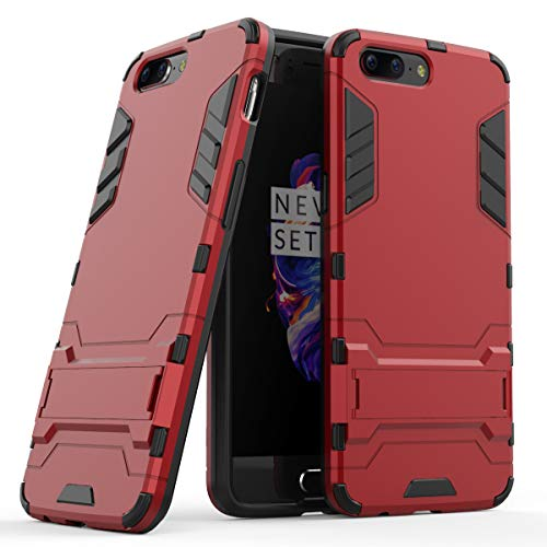 Cocomii Iron Man Armor OnePlus 5 Case, Slim Thin Matte Vertical & Horizontal Kickstand Reinforced Drop Protection Fashion Phone Case Bumper Cover Compatible with OnePlus 5 (Red)