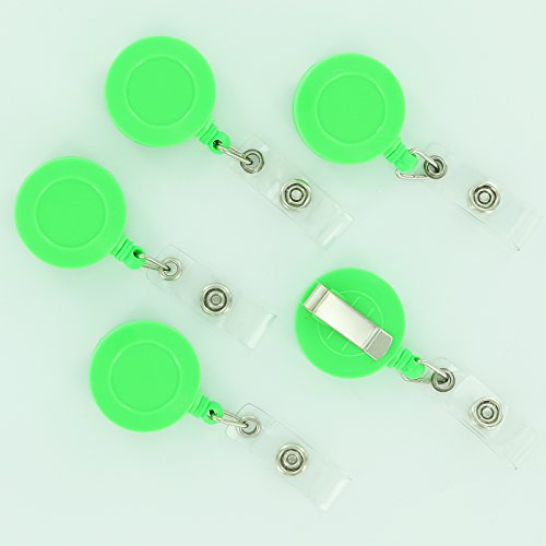 10 Retractable Reel ID Badge Key Card Name Tag Holders with Belt Clip - Choose 1 of 10 Colors (Lime Green)