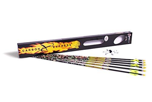 Carbon Express Mayhem Hunter Fletched Carbon Arrows with Blazer Vanes, 6-Pack, Mossy Oak Obsession Pattern