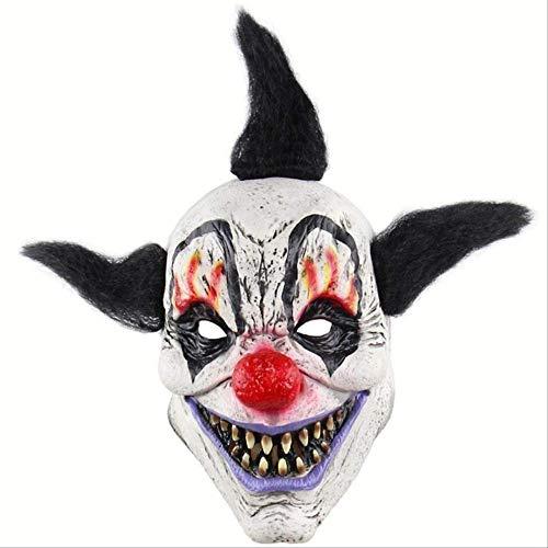 Ruox MascaraEspeluznante mal payaso máscara doble cara látex goma máscara Halloween máscara máscara payaso con pelo para adultos máscaras payaso mago