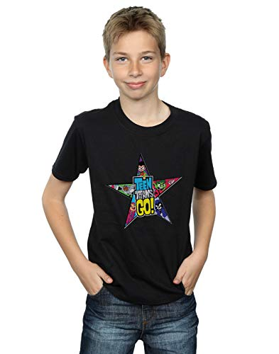DC Comics Niños Teen Titans Go Star Logo Camiseta Negro 7-8 Years