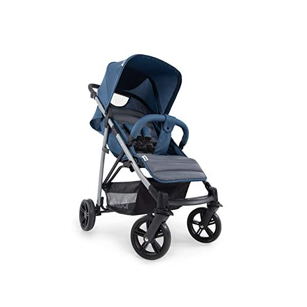Hauck Rapid 4, 0 Months to 22 kg, Foldable, Compact, with one Hand, with Sleep Position, Height Adjustable Handle, Large Basket - denim/grey, Rapid 4, Up to 25 Kg Hauck Easy folding this pushchair is as easy to fold away as possible - the comfort stroller can be folded with one hand only within seconds, leaving one hand always free for your little ray of sunshine Long use this buggy can be used for a very long time. it is suitable from birth (also compatible with 2in1 carrycot or comfort fix infant car seat) up to a maximum of 22kg Comfortable back friendly push handle adjustable in height, the hood extendable; suspension, swivelling front wheels, soft padding, and large shopping basket 2