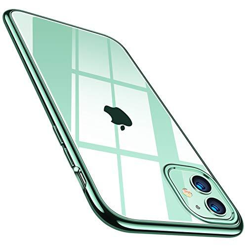 TORRAS Crystal Clear für iPhone 11 Hülle (Echte Vergilbungsfreiheit) Hochwertiges Weich Silikon Handyhülle iPhone 11 (Ultra Dünn und Leicht) Transparent Kratzfest Schutzhülle iPhone 11 Hülle Grün