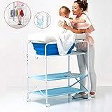 La mesa para cambiar pañales es plegable, la mesa para el cuidado neonatal toca la mesa azul para cambiar (incluida la bañera y la almohadilla para pañales) y la red de baño + sistema de drenaje