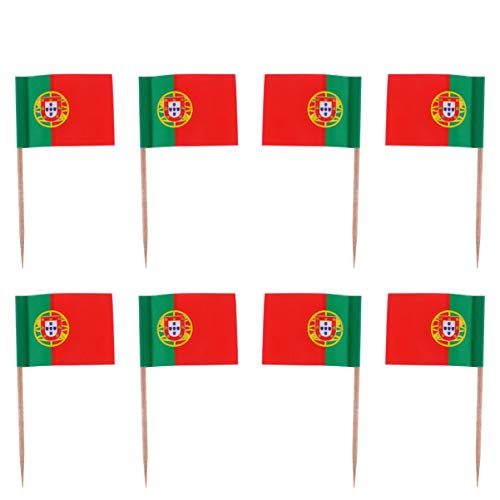 ABOOFAN 100Pcs Portugal Mini Vlaggen Hand Held Kleine Miniatuur Portugees Vlaggen Op Stick Tandenstokers Cupcake Picks…