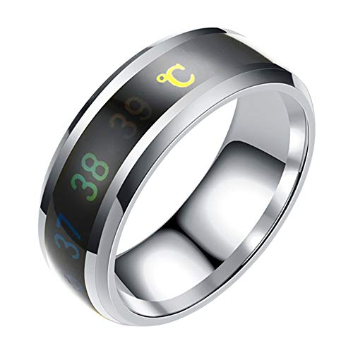 Smart Display Ring with Temperature Sensing, Creative Simple Couple Ring...