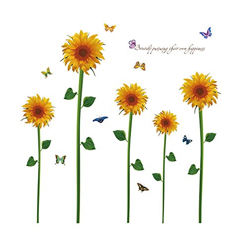 Winhappyhome Sunflower Décalcomanies Art Muraux Stickers pour Living Room Entrance Corridor Amovible Décor ation